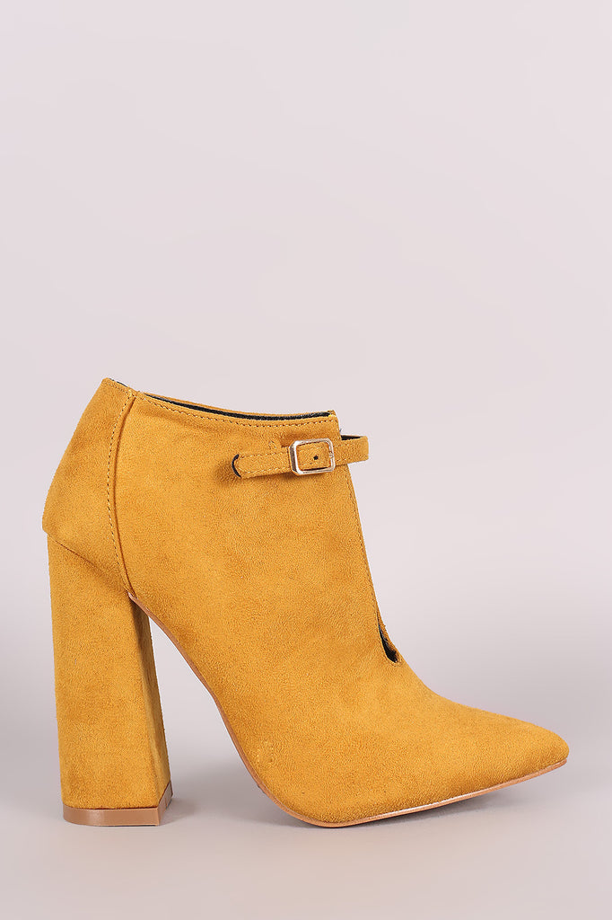 Suede Front Cutout Buckle Chunky Heel Bootie-CollectiveFab-Ndulge In You