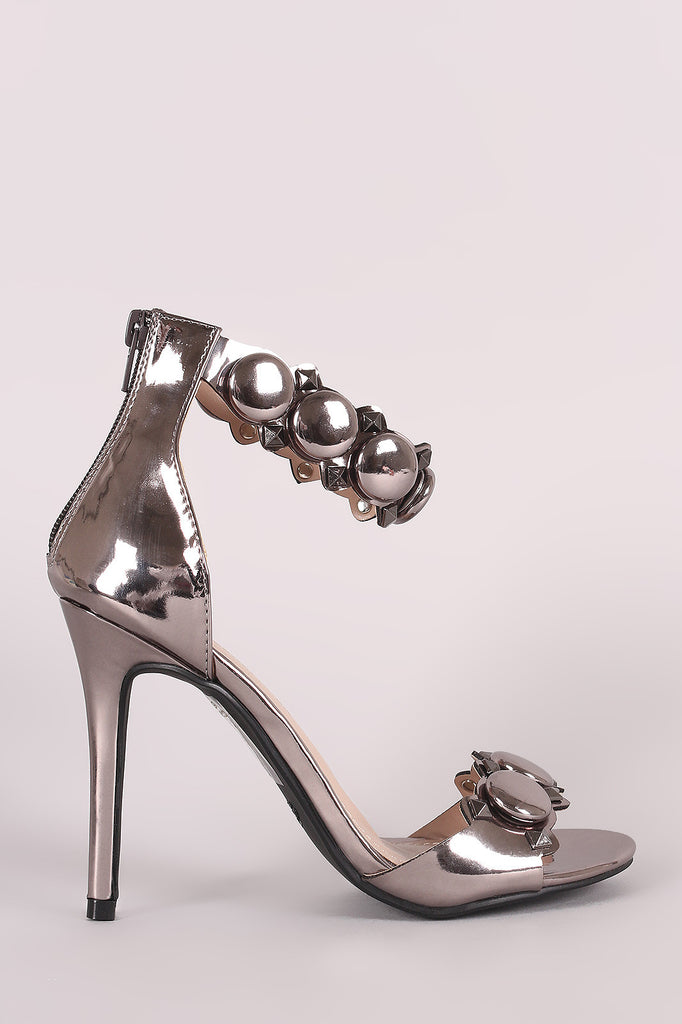 Shoe Republic LA Button And Stud Ankle Strap Stiletto Heel-CollectiveFab-Ndulge In You