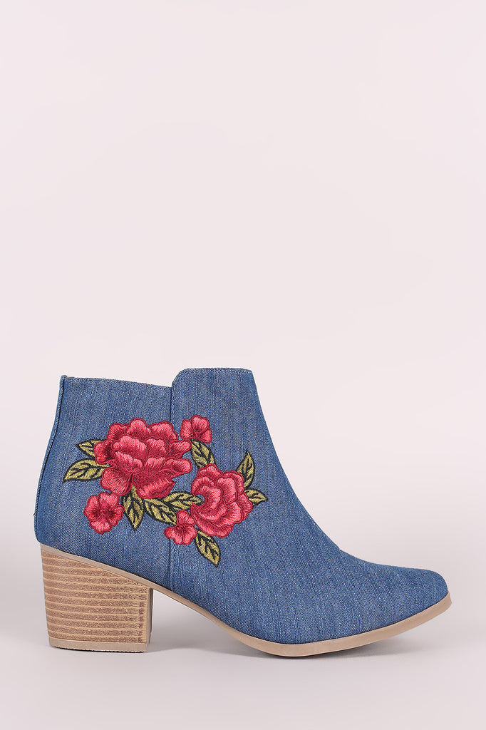 Qupid Denim Embroidery Floral Chunky Heeled Booties - Ndulge In You