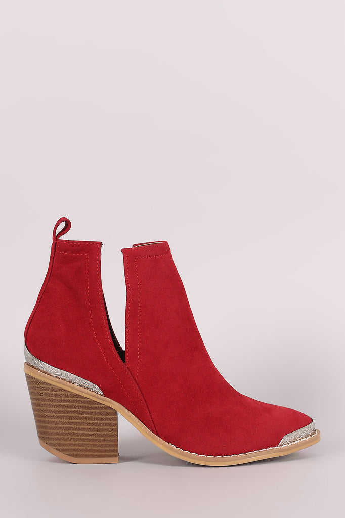Suede Cutout Chunky Heeled Western Booties-CollectiveFab-Ndulge In You