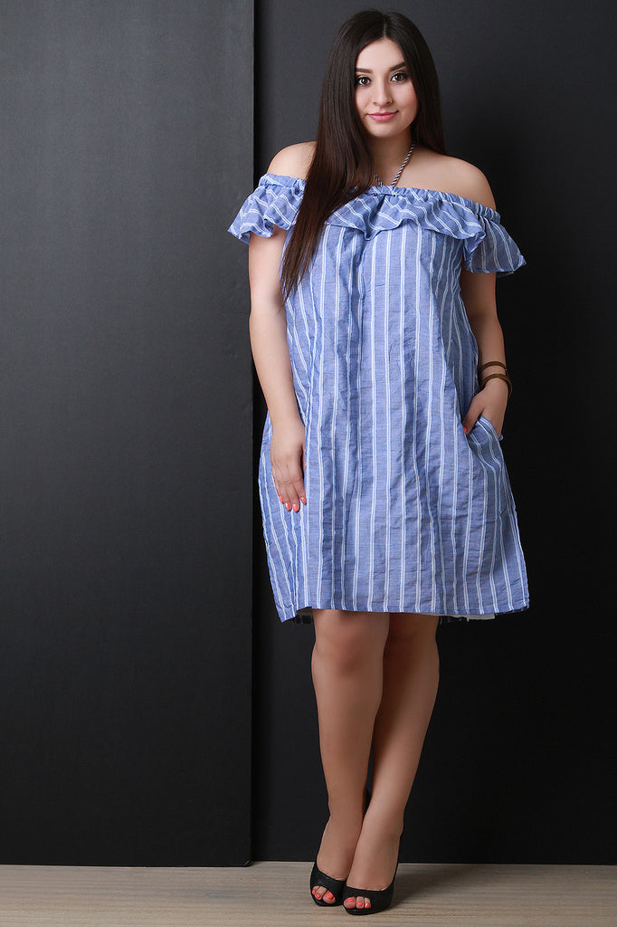 Off The Shoulder Ruffle Striped Shift Dress-CollectiveFab-Ndulge In You