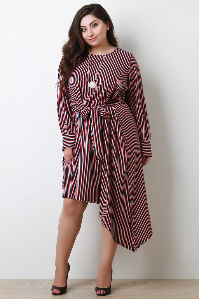 Striped Long Sleeve Waist Sash Asymmetrical Dress-CollectiveFab-Ndulge In You