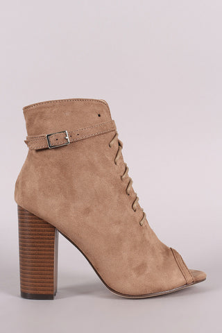 Peep Toe Buckled Lace-Up Chunky Heeled Suede Ankle Boots - Ndulge In You