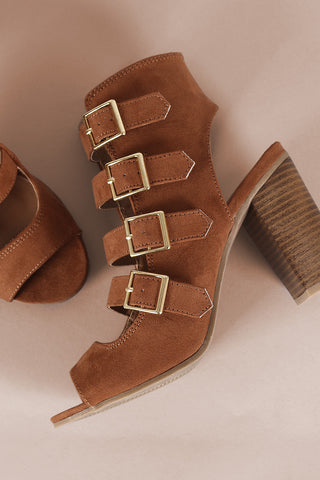Wild Diva Lounge Suede Peep Toe Buckled Strap Chunky Heel-CollectiveFab-Ndulge In You