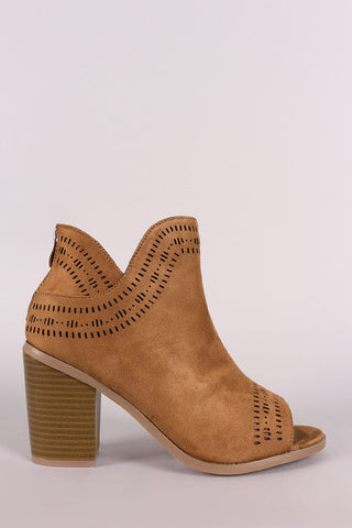 Perforated Vegan Suede Peep Toe Chunky Heeled Booties - Ndulge In You