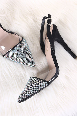 Shoe Republic LA Clear Trim Pointy Rhinestone Toe Stiletto Heel - Ndulge In You