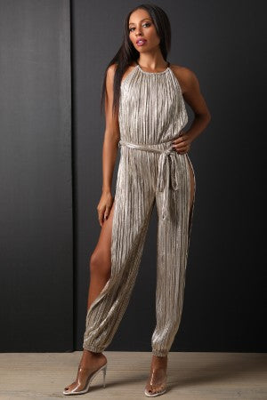 Metallic Accordion Pleated Side Slits Jumpsuit-CollectiveFab-Ndulge In You