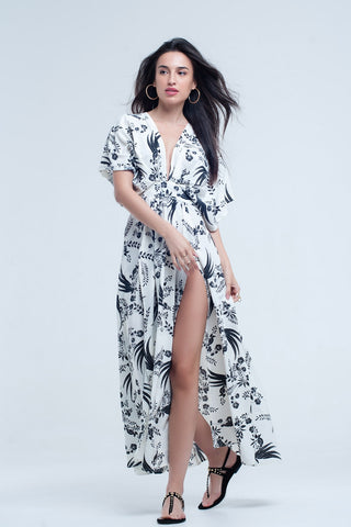 White long dress with printed flowers - Ndulge In You