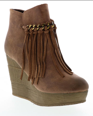 NDULGE FRINGE AND CHAIN WEDGE BOOTIE - Ndulge In You