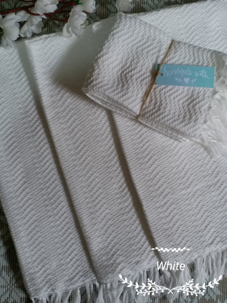 [SALE] Inabel White Trambia Wavy Hand Towels (4's)