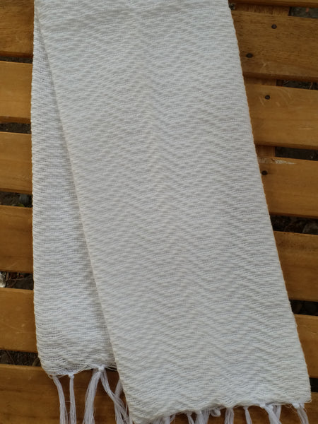 SALE [Limited Quantity]  Inabel White Trambia Wavy Hand Towels (4's)