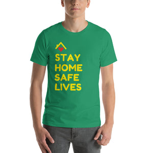 STAY HOME SAFE LIVES - Camiseta Unissex de Manga Curta