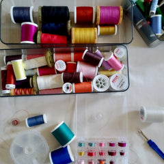 An array of colourful cotton threads