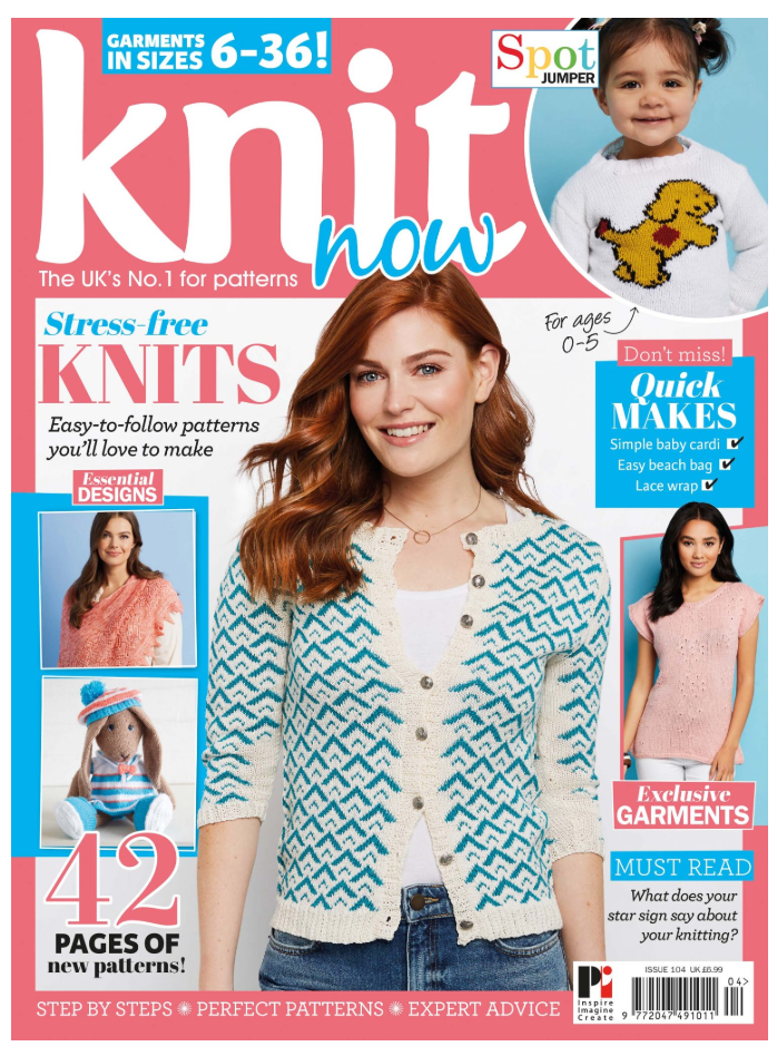 The Cover of Knit Now, with one of my shawls