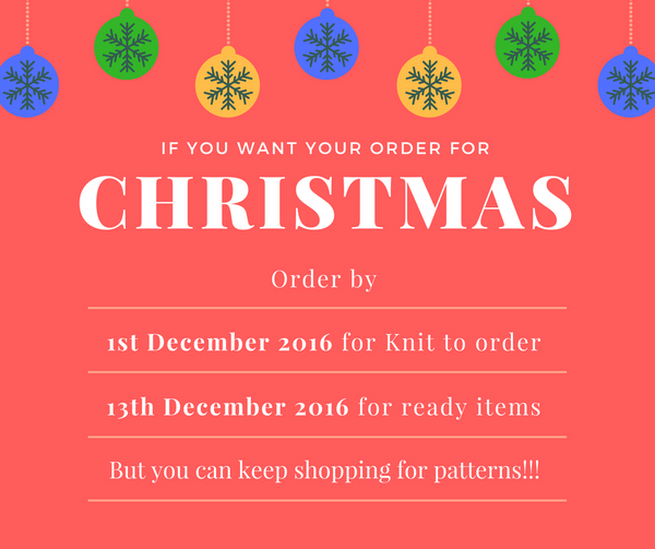 Order dates Christmas 2016