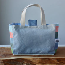 Load image into Gallery viewer, Aquarelle Project Basket - Hand-Dyed Organic Cotton, Blu & Verde-La Cave à Laine