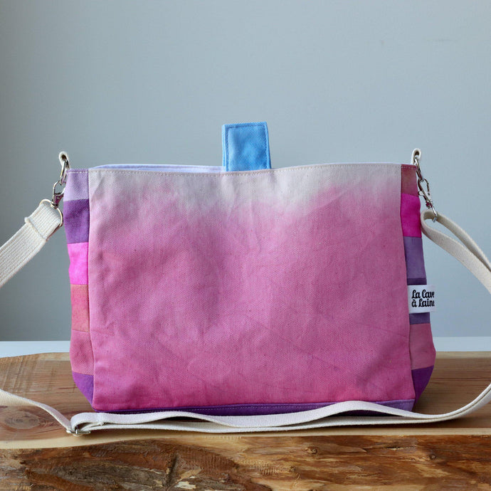 Aquarelle Project Basket, Crossbody - Hand-Dyed Organic Cotton, Rosa-La Cave à Laine
