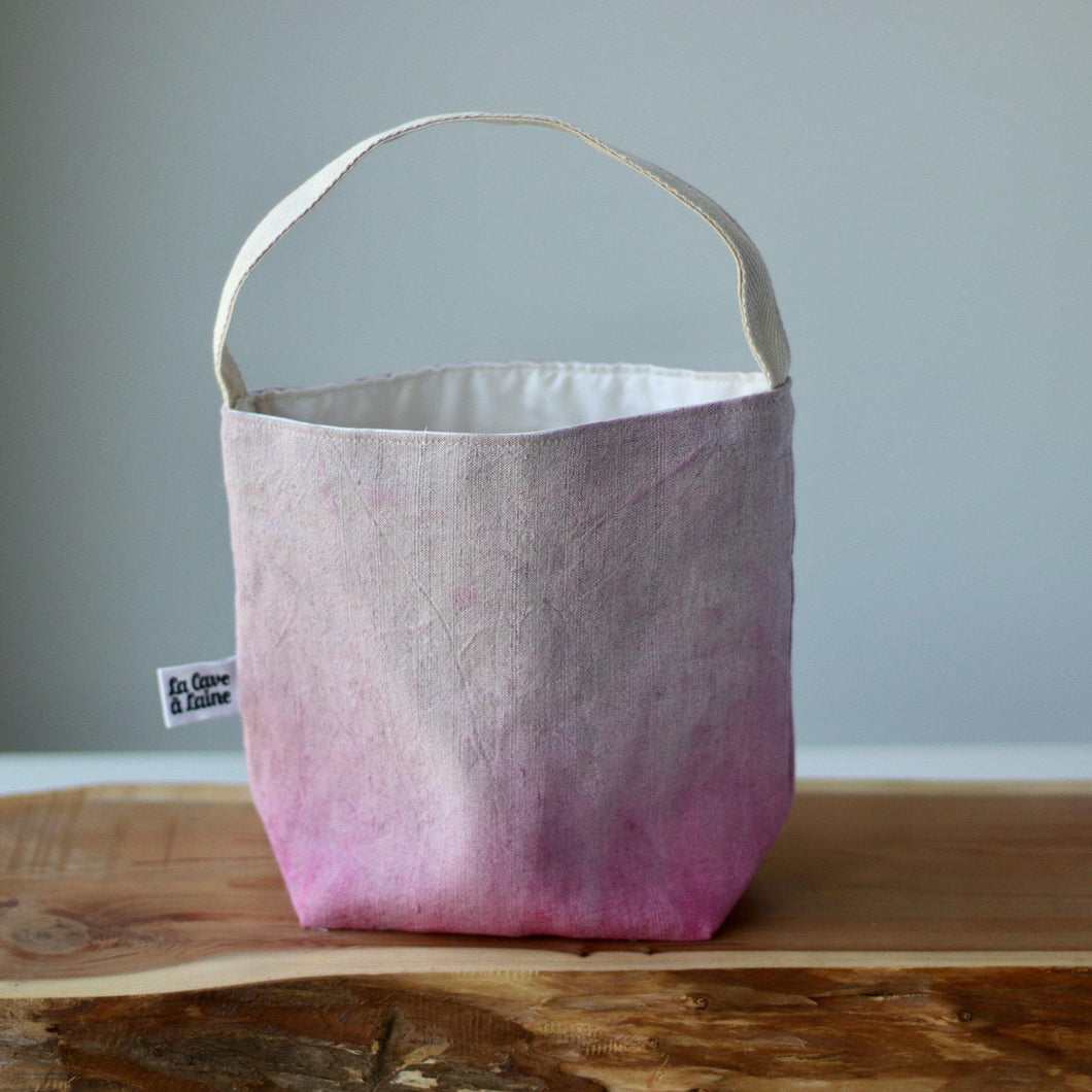 Aquarelle Project Bag - Hand-Dyed French Linen, Rosa Cocomero-La Cave à Laine