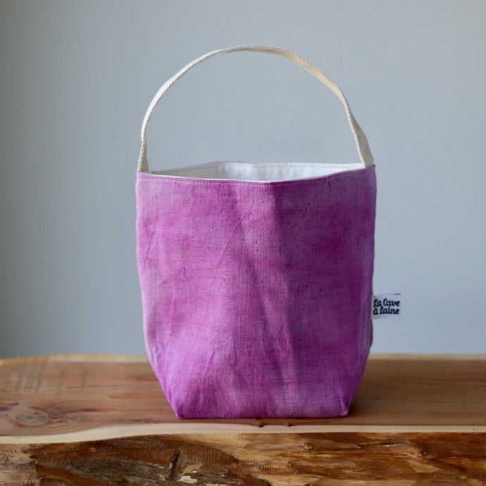 Aquarelle Project Bag - Hand-Dyed French Linen, Rosa Magenta-La Cave à Laine