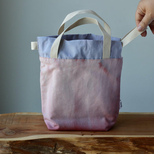 Aquarelle Project Bag, Ribbon - Hand-Dyed Organic Cotton, Rosa Antico-La Cave à Laine