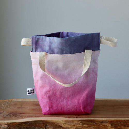Aquarelle Project Bag, Ribbon - Hand-Dyed Organic Cotton, Rosa Cocomero-La Cave à Laine