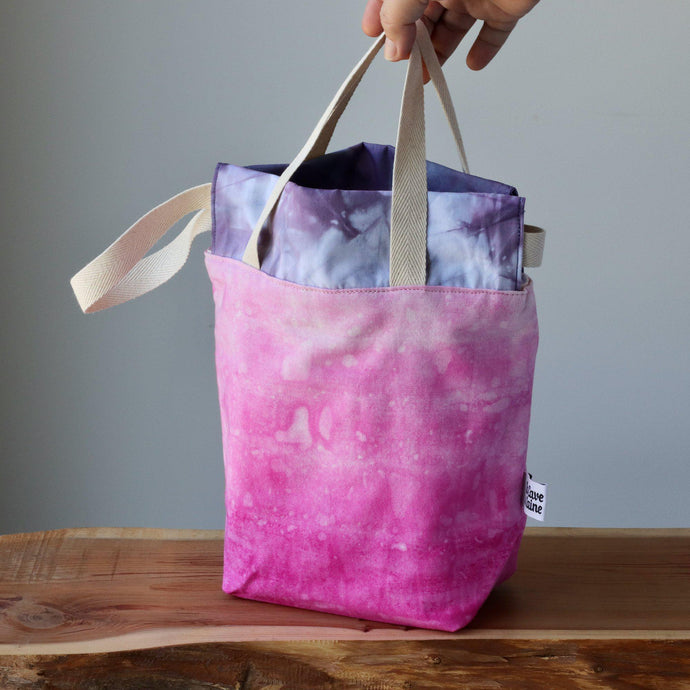Aquarelle Project Bag, Ribbon - Hand-Dyed Organic Cotton, Fucsia-La Cave à Laine