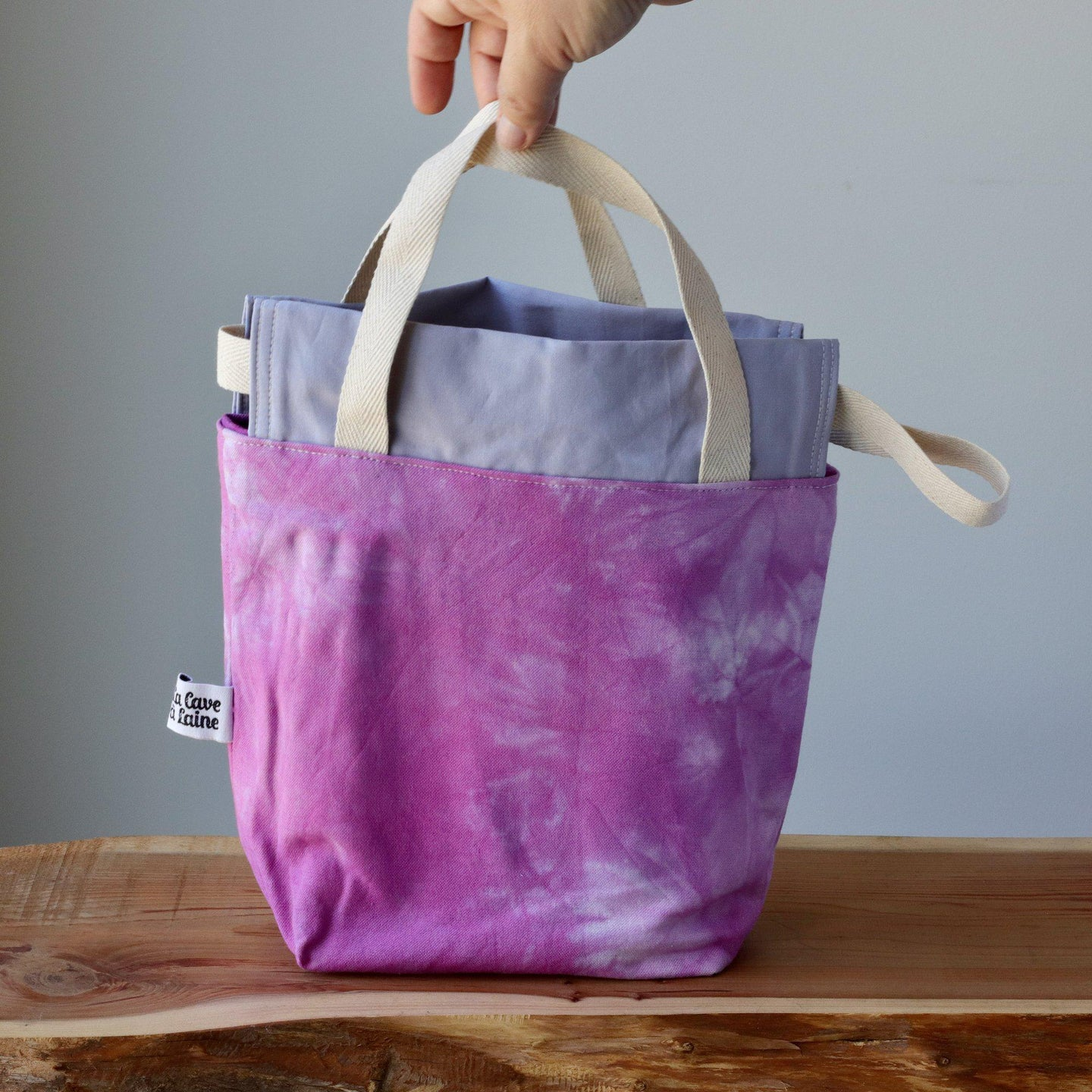 Aquarelle Project Bag, Ribbon - Hand-Dyed Organic Cotton, Rosa Magenta-La Cave à Laine