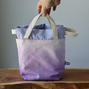 Aquarelle Project Bag, Ribbon - Hand-Dyed Organic Cotton, Lavanda-La Cave à Laine