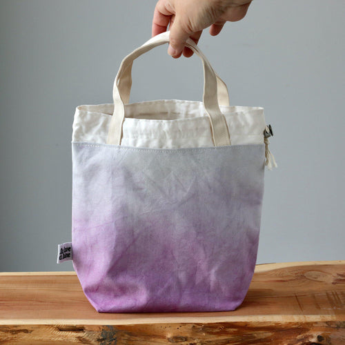Aquarelle Project Bag - Hand-Dyed Organic Cotton, Viola-La Cave à Laine