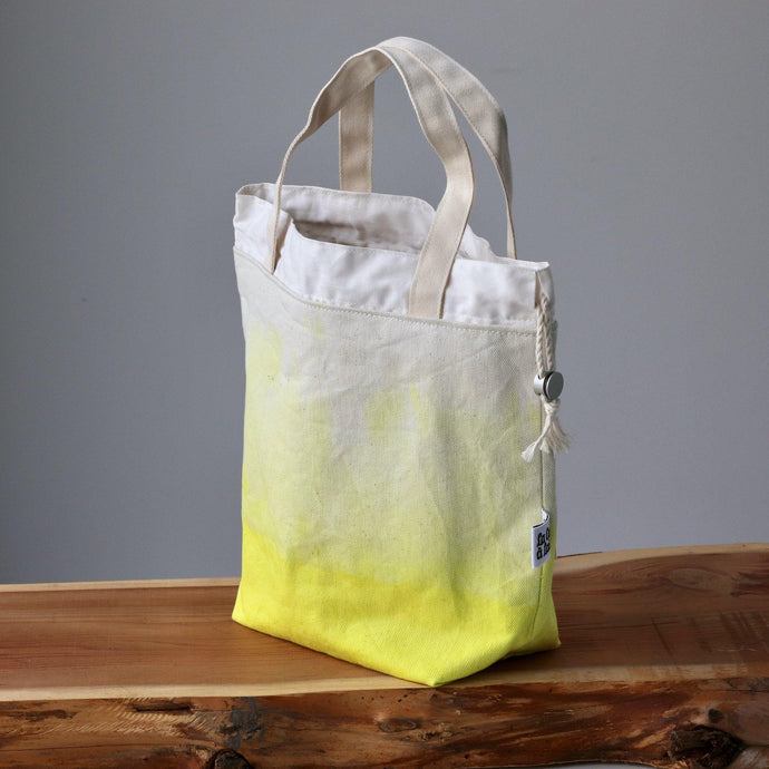 Aquarelle Project Bag - Hand-Dyed Organic Cotton, Giallo Limone-La Cave à Laine