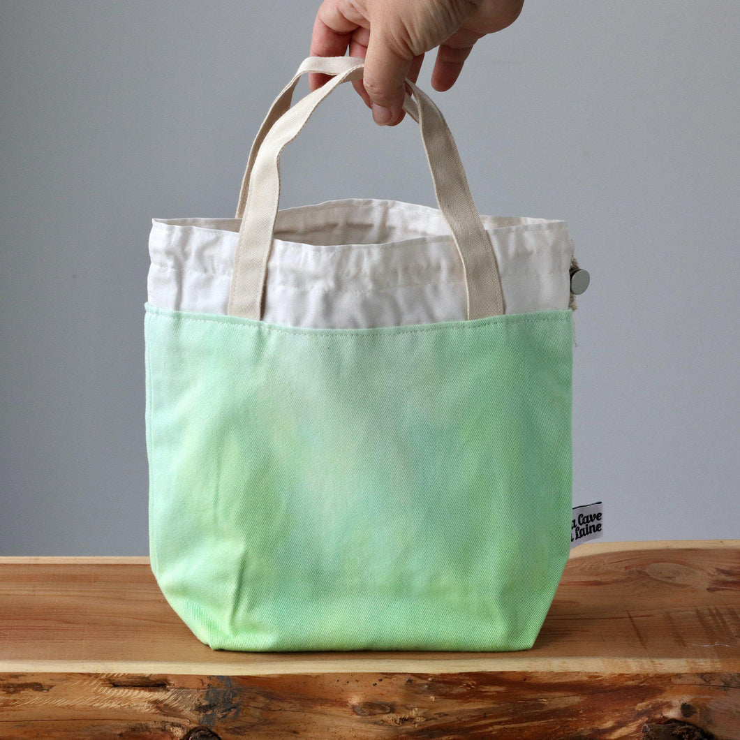 Aquarelle Project Bag - Hand-Dyed Organic Cotton, Verde Chiaro-La Cave à Laine
