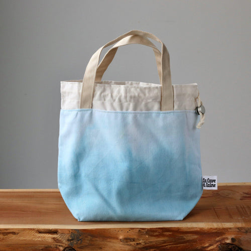 Aquarelle Project Bag - Hand-Dyed Organic Cotton, Blu Cielo-La Cave à Laine