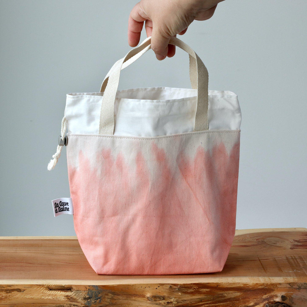 Aquarelle Project Bag - Hand-Dyed Organic Cotton, Rosso Salmone-La Cave à Laine