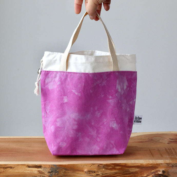 Aquarelle Project Bag - Hand-Dyed Organic Cotton, Rosa Magenta-La Cave à Laine