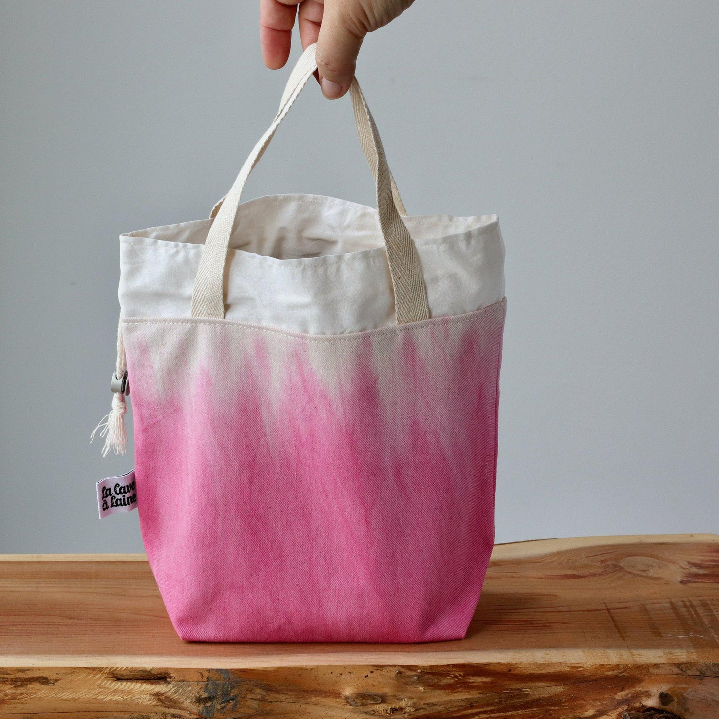 Aquarelle Project Bag - Hand-Dyed Organic Cotton, Rosa Cocomero-La Cave à Laine