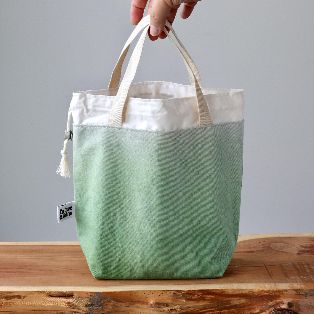 Aquarelle Project Bag - Hand-Dyed Organic Cotton, Verde Carciofo-La Cave à Laine
