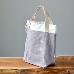 Aquarelle Project Bag - Hand-Dyed Organic Cotton, Grigio Cielo-La Cave à Laine
