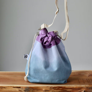 Aquarelle Project Bag - Hand-Dyed Organic Cotton, Crossbody: Bicolour Blu & Viola-La Cave à Laine