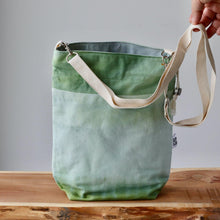 Load image into Gallery viewer, Aquarelle Project Bag - Hand-Dyed Organic Cotton, Crossbody: Bicolour Verde-La Cave à Laine