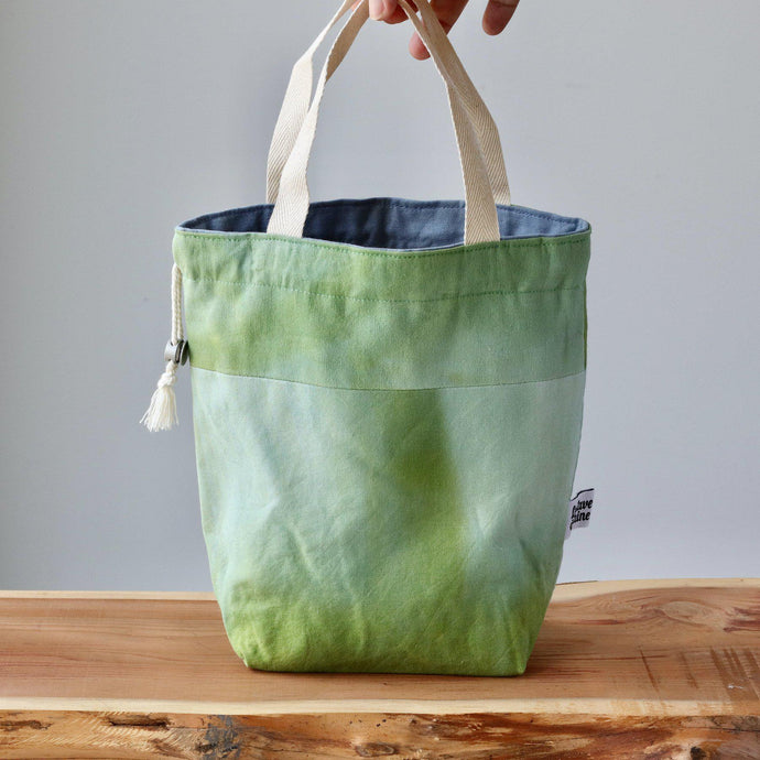 Aquarelle Project Bag - Hand-Dyed Organic Cotton, Bicolour: Verde-La Cave à Laine