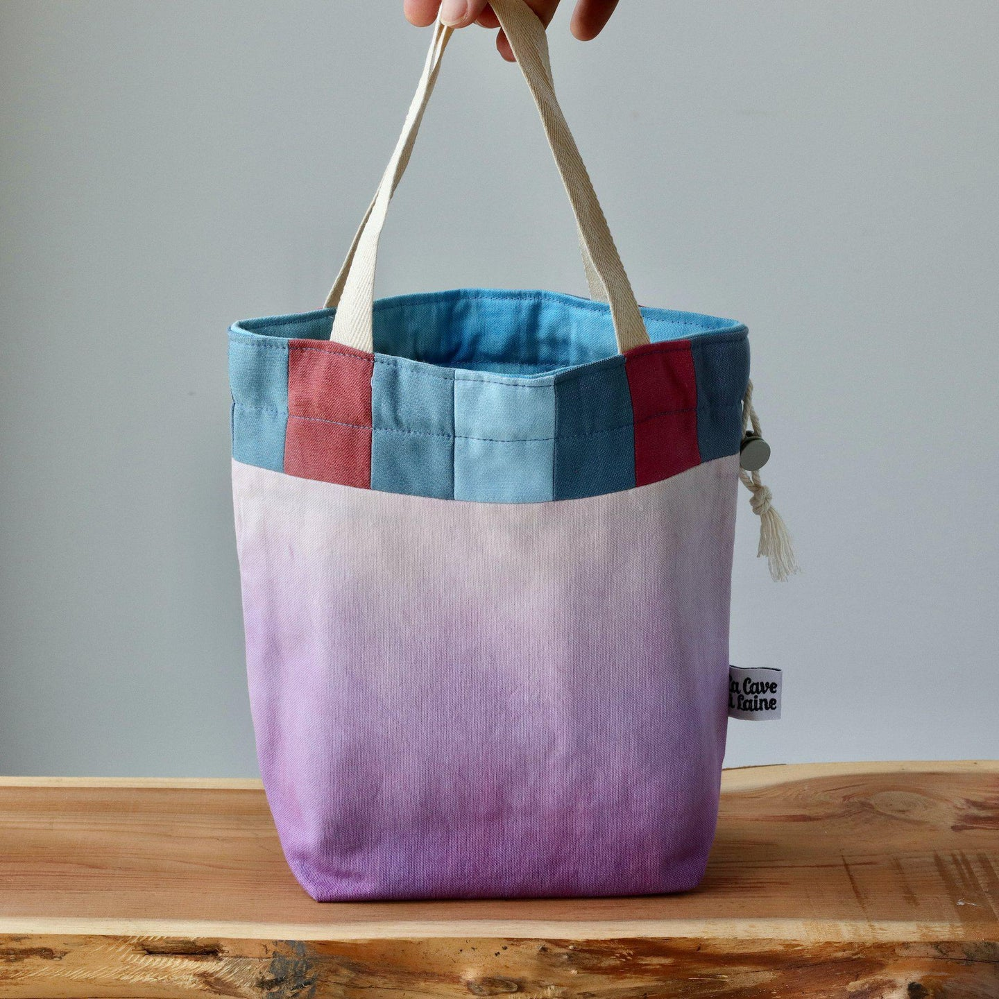 Aquarelle Project Bag - Hand-Dyed Organic Cotton, Bicolour: Multicolore e Viola-La Cave à Laine