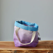 Load image into Gallery viewer, Aquarelle Project Bag - Hand-Dyed Organic Cotton, Bicolour: Multicolore e Viola-La Cave à Laine