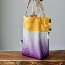Load image into Gallery viewer, Aquarelle Project Bag - Hand-Dyed Organic Cotton, Bicolour: Giallo e Viola-La Cave à Laine