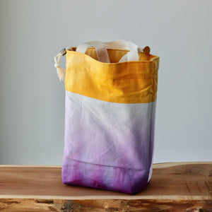 Aquarelle Project Bag - Hand-Dyed Organic Cotton, Bicolour: Giallo e Viola-La Cave à Laine