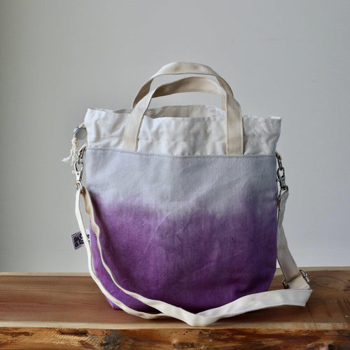 Aquarelle Project Bag - Hand-Dyed Organic Cotton, Crossbody, Viola-La Cave à Laine