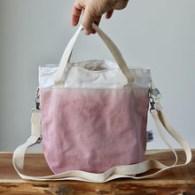 Load image into Gallery viewer, Aquarelle Project Bag - Hand-Dyed Organic Cotton, Crossbody, Rosa Antico-La Cave à Laine