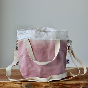 Aquarelle Project Bag - Hand-Dyed Organic Cotton, Crossbody, Rosa Antico-La Cave à Laine