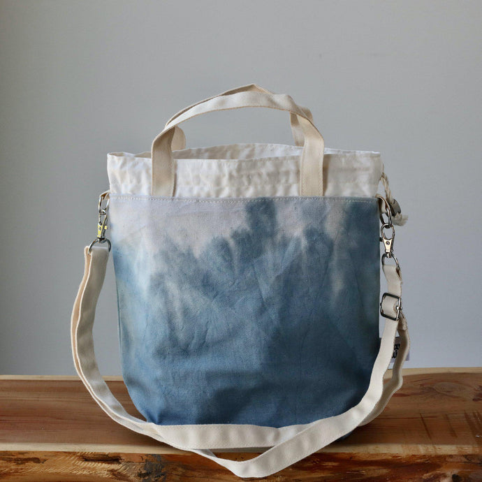 Aquarelle Project Bag - Hand-Dyed Organic Cotton, Crossbody, Blu Tempesta-La Cave à Laine