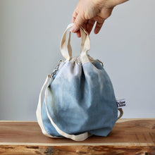 Load image into Gallery viewer, Aquarelle Project Bag - Hand-Dyed Organic Cotton, Crossbody, Blu Tempesta-La Cave à Laine