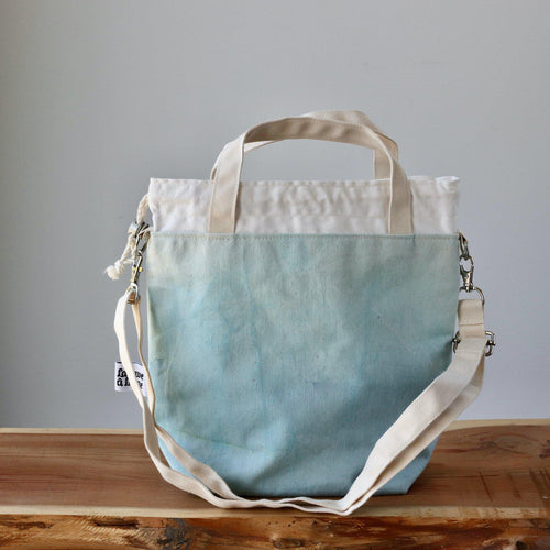 Aquarelle Project Bag - Hand-Dyed Organic Cotton, Crossbody, Blu Cielo-La Cave à Laine
